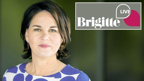 """Annalena Baerbock, Kanzlerkandidatin der ParteiBündnis 90/Die Grünen, stellt sich den Fragen in der Gesprächsreihe """"Brigitte Live""""."""