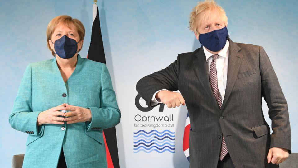 Angela Merkel undBoris Johnson