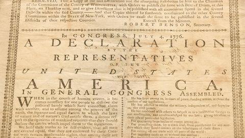 """Die Unabhängigkeitserklärung der USA vom 4. Juli 1776. Dieses Exemplar der """"Declaration of Independence"""" gehört einen Nachfahren eines der Unterzeichner."""