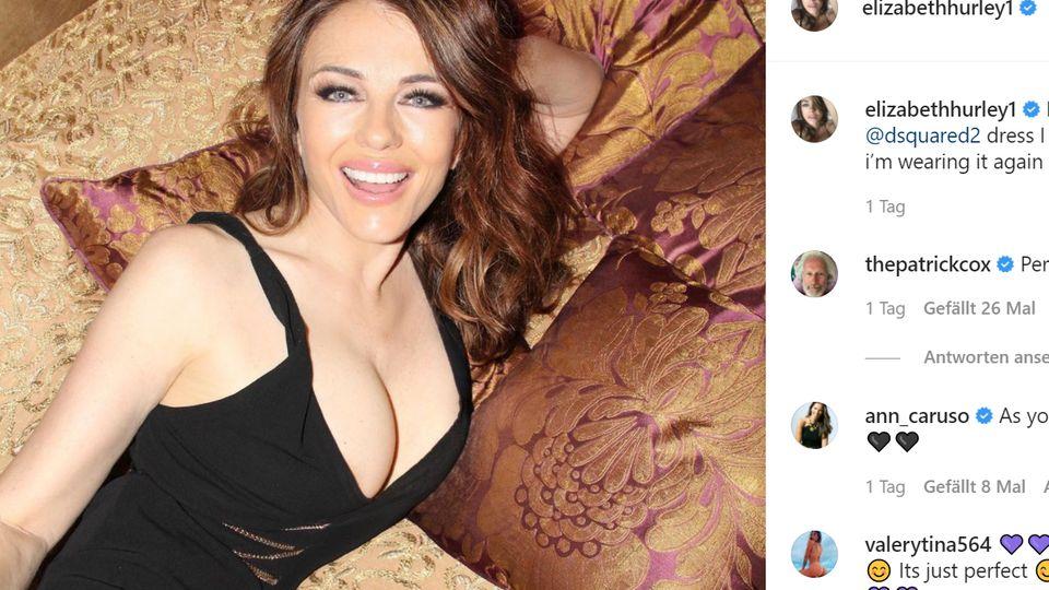 LizHurley promotet ihr Kleid auf Instagram.