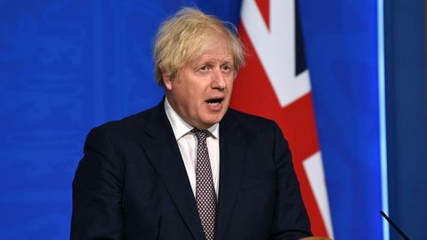 Boris Johnson bei einer Pressekonferenz