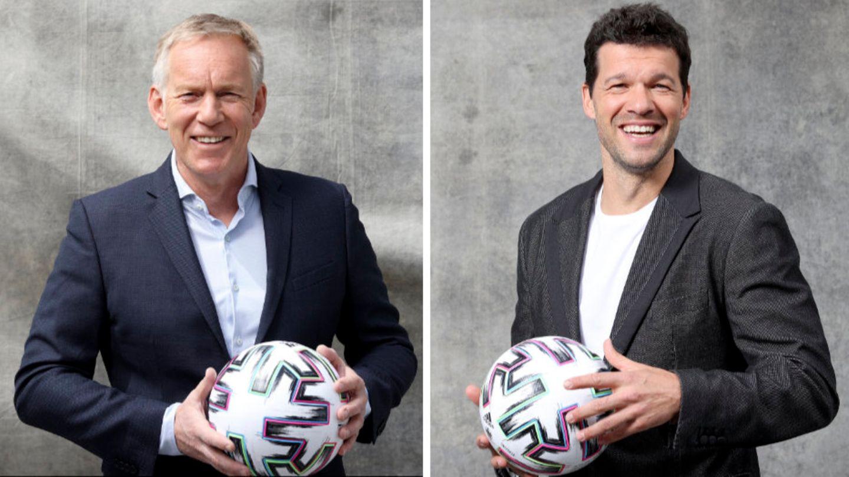 Für die EM 2021 beiMagenta-TV im Einsatz: Moderator Johannes B. Kerner (l.) und Experte Michael Ballack