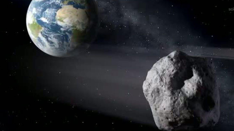 So sieht es aus, wenn sich ein Grafiker den Flug eines Asteroiden vorstellt, der der Erde ganz nahe kommt
