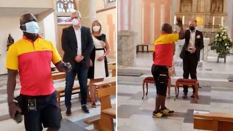 Hochzeit: DHL-Bote liefert Ringe in die Kirche