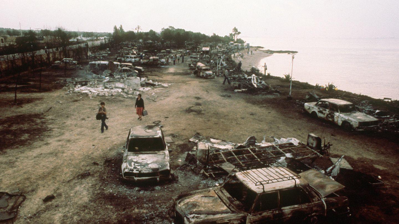 Blick über den verwüsteten Campingplatz an der Costa Daurada.