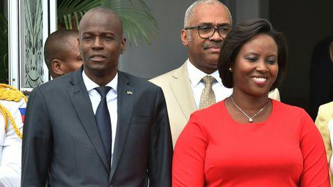 Haitis Präsident Jovenel Moïse (l.) und Ehefrau Martine Moïse