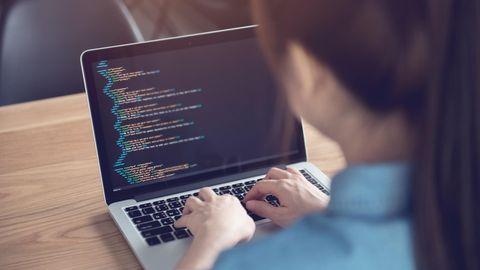 Eine Programmiererin arbeitet an einem Linux-Laptop