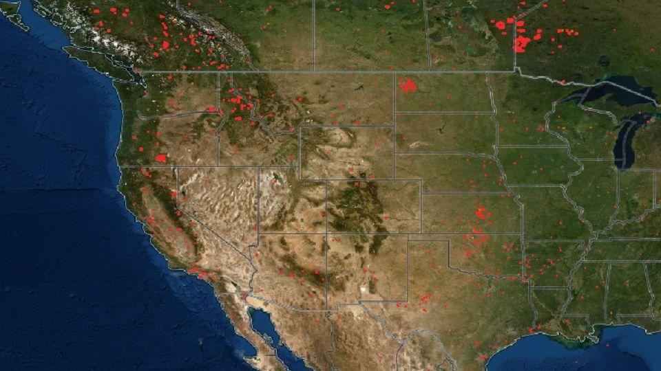 Incendios activos en Estados Unidos y Canadá