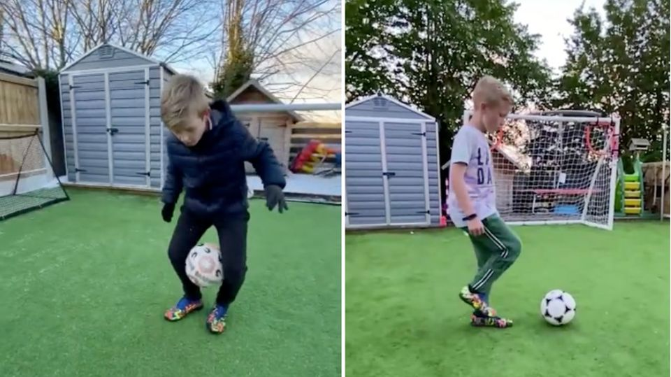 Elfjähriger beeindruckt mit unglaublichen Fußballtricks