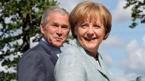 Angela Merkel mit George W. Bush
