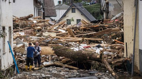 Blick auf das Chaos nach der Flut in Schuld, Baden-Neuenahr-Ahrweiler