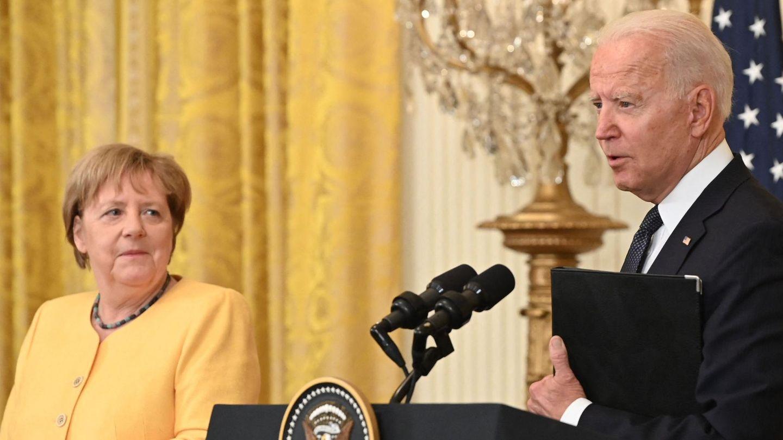 Joe Biden und Angela Merkel nach einem Treffen in Washington