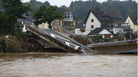 Eingestürzte Brücke im Landkreis Ahrweiler