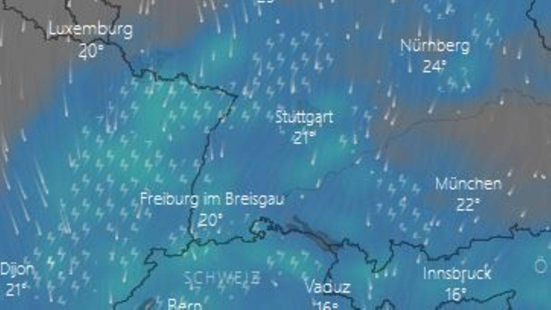 Ein Ausschnitt einer Wetterkarte von Freitagnachmittag