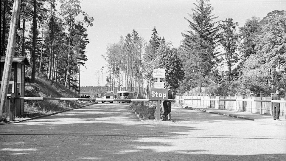 Ein Schwarzweiß-Foto zeigt die Einfahrt zum ehemaligen KZ Stutthof mit einem Stoppschild davor