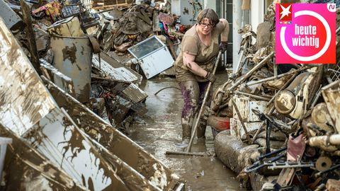 InBad Neuenahr-Ahrweiler beginnen die Aufräumarbeiten nach der Flutkatastrophe