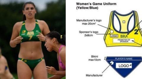 Eine Beach-Handball-Spielerin und die offiziellen Kleidungsvorschriften