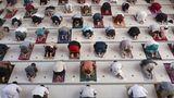 Muslime beten mit Abständen als Vorsichtsmaßnahme gegen den Ausbruch des Coronavirus während eines Eid al-Adha Gebets