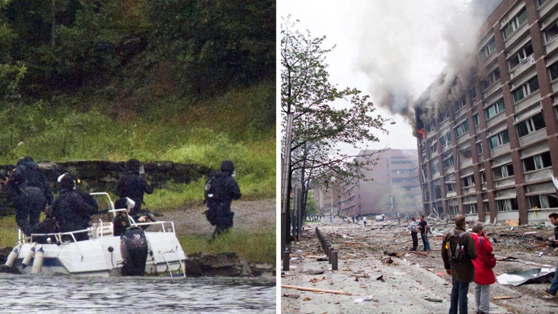 Links: Spezialeinheiten betreten die InselUtøya am 22. Juli 2011. Rechts: die Schäden nach dem Bombenanschlag in Oslo.