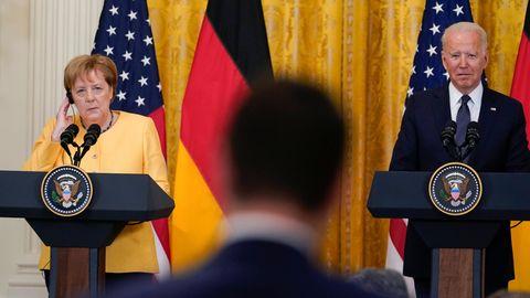 Bundeskanzlerin Angela Merkel (l.) und US-Präsident Joe Biden