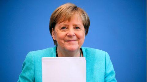 Bundeskanzlerin Angela Merkel während ihrer letzten Sommer-Pressekonferenz
