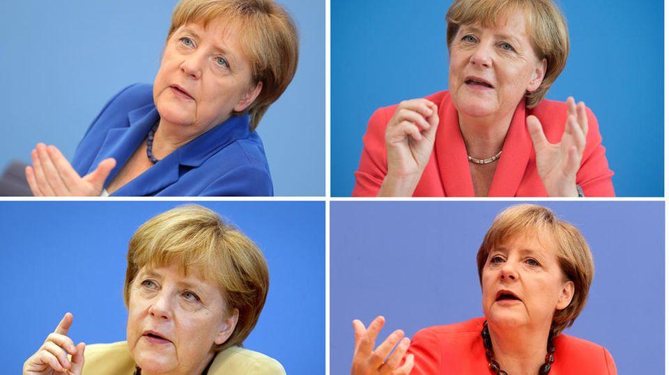 Bundeskanzlerin Angela Merkel (CDU) während ihrer traditionellen Bundespressekonferenz im Sommer in Berlin