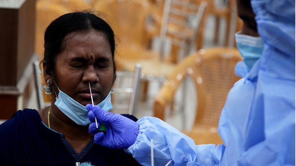 Coronatest in Indien