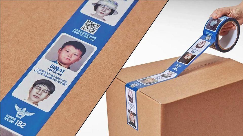 Das südkoreanische Paketband mit Bildern vermisster Kinder