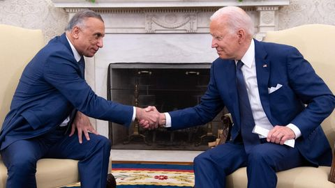Joe Biden und Mustafa al Kadhimi. Ministerpräsident des Irak am Montag imWeißen Haus