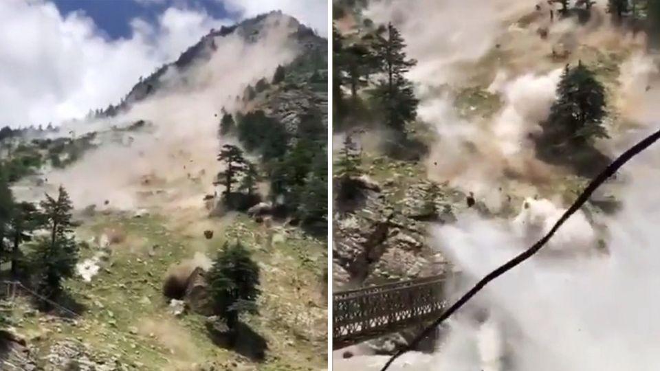 Fliegendes Geröll – Erdrutsch zerstört eine Brücke