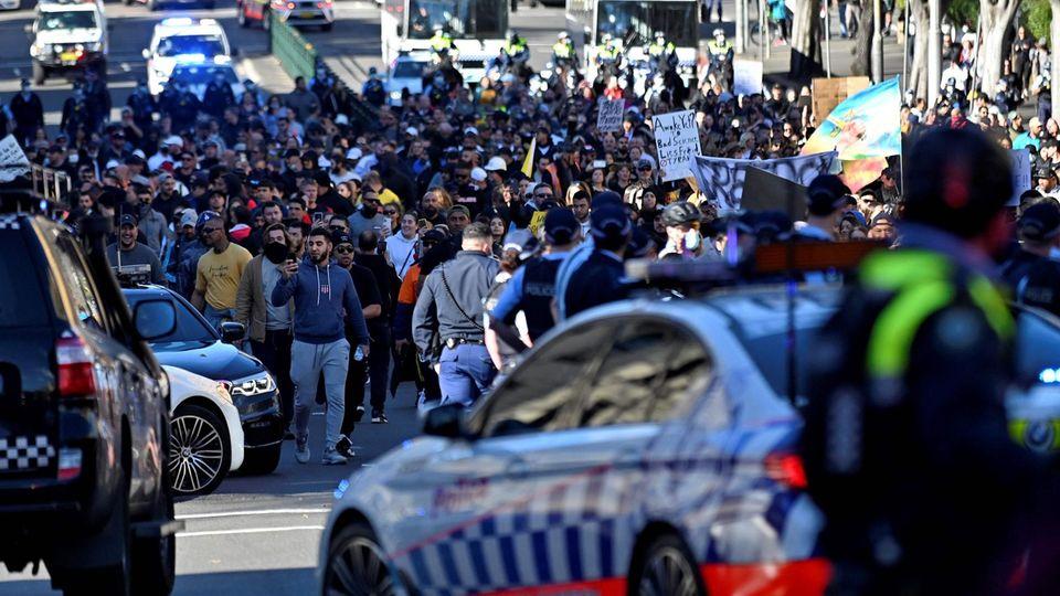 Anti-Lockdown-Kundgebung am Samstag in Sydney: Die nicht genehmigte Veranstaltung wurde auch von Deutschland aus beworben.