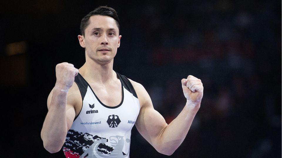 Turner Andreas Toba aus Deutschland beim Halbfinale im Mehrkampf der Olympischen Spiele in Tokio