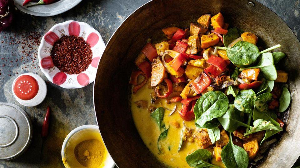 Curry mit Süßkartoffel und Kürbis