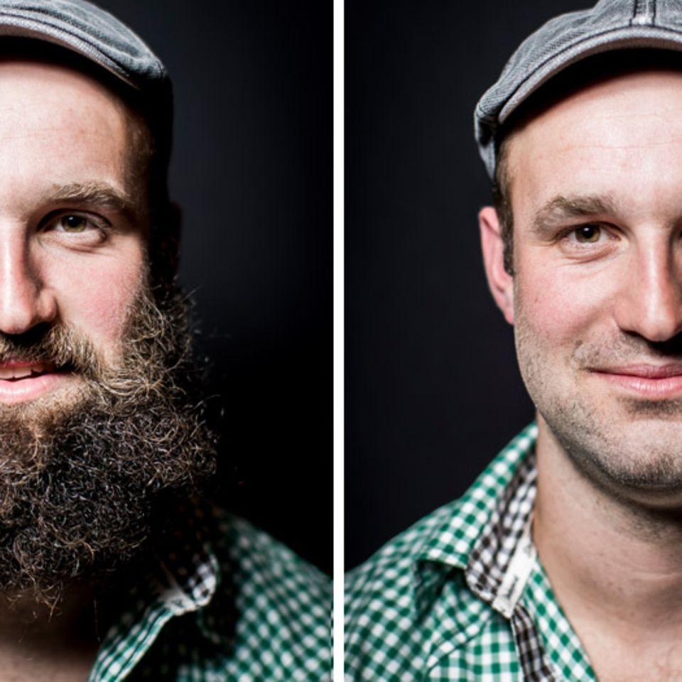 Der SchweizerChrigu Epp erst mit, dann ohne Bart
