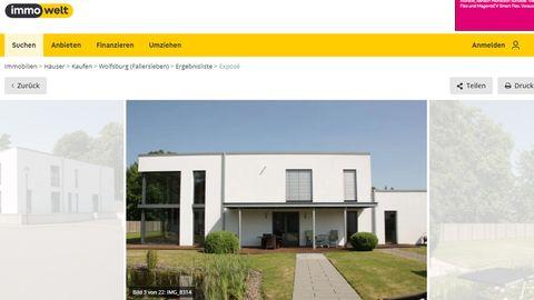 Annonce der Wolfsburger Villa bei Immowelt