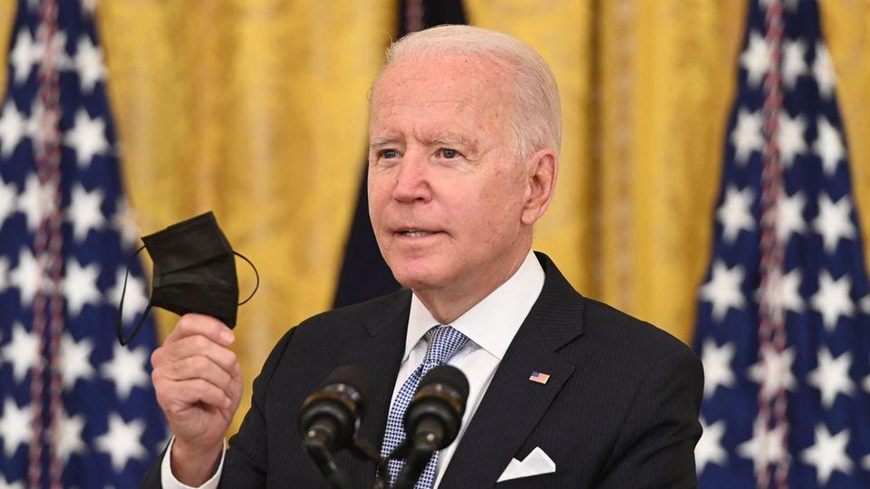 US-Präsident Joe Biden wirbtim Weißen Haus für das Impfen gegen Covid-19
