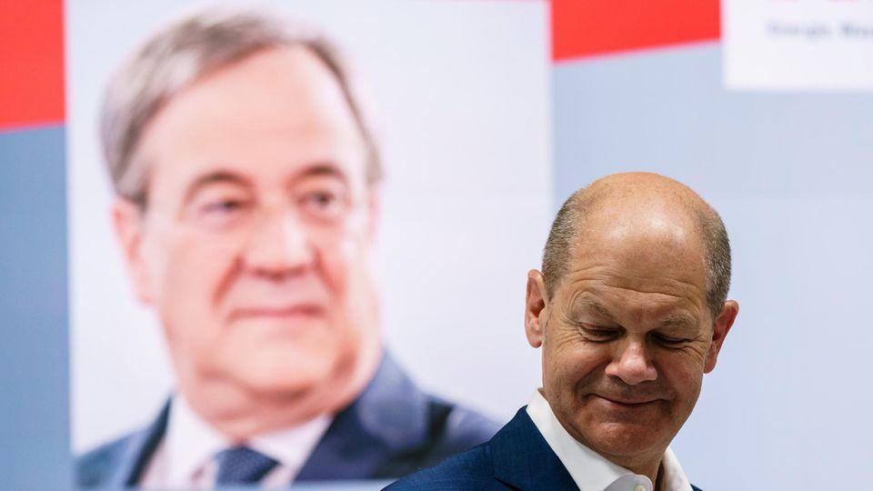 Olaf Scholz (vorne) hatte in vielen Direktwahlumfragen zuletzt die Nase vorn