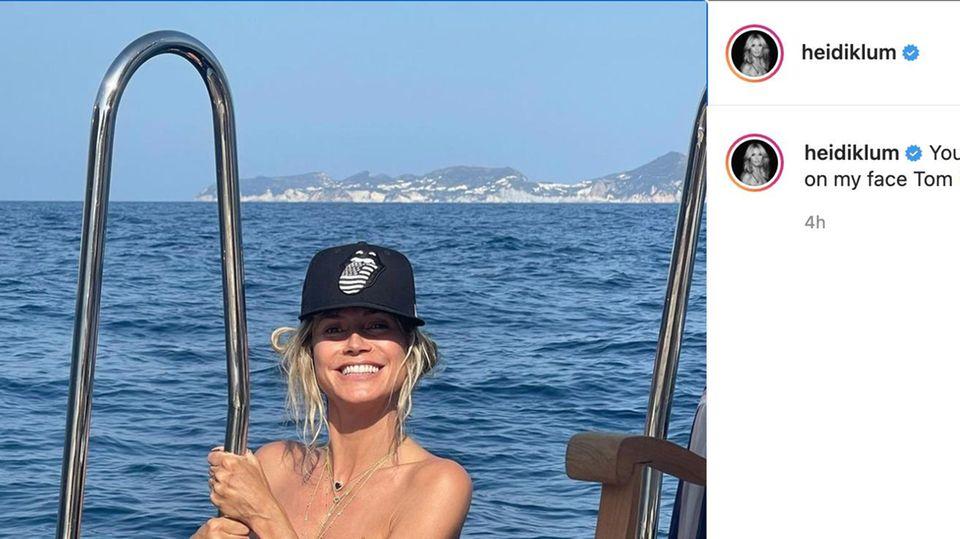 Heidi Klum an Bord einer Yacht