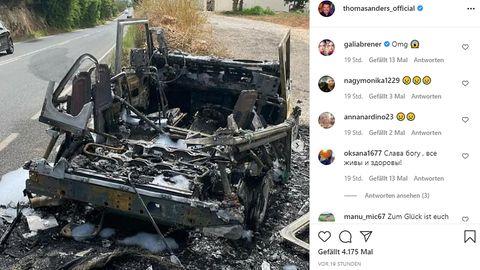 Das Fahrzeug von Thomas Anders ist völlig ausgebrannt