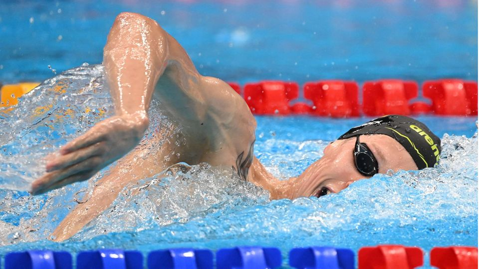 Florian Wellbrock im Aquatics Centre in Tokio auf dem Weg zur Bronzemedaille über 1500 MeterFreistil