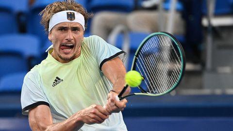 Alexander Zverevim FinalegegenKaren Chatschanow vom RussischenOlympischenKomiteeim Ariake Tennis Park in Tokio