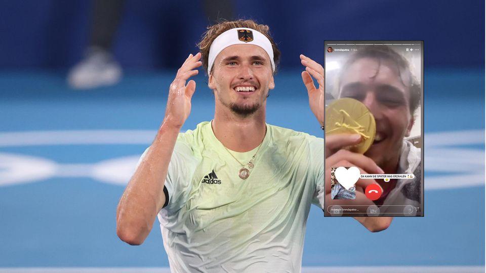 Alexander Zverev jubelt und küsst bei einem Facetime-Anruf die Gold-Medaille