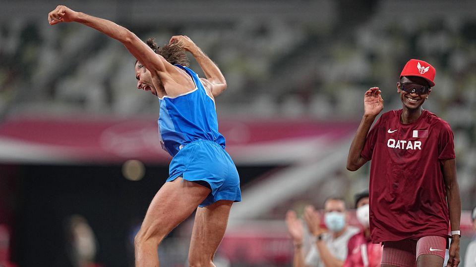 Olympia Hochsprung: Gianmarco Tamberi und Essa Mutaz Barshim freuen sich gemeinsam über Gold