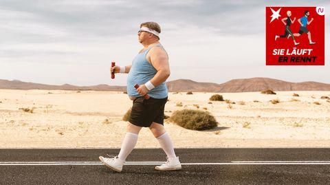 Ein dicker Mann treibt Sport