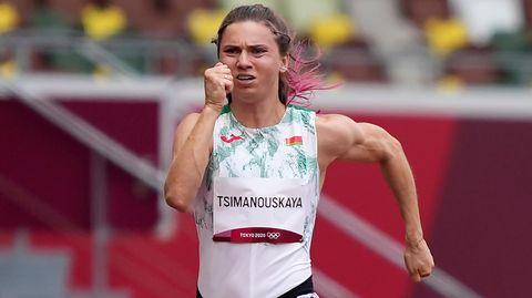 Belarussische Sprinterin Kristina Tsimanowskaja in Aktion in Tokio