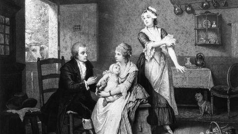Ein Holzstich nach einem Gemälde von Edouard Hamman zeigt, wie der der englische Landarzt Edward Jenner 1796bei einem achtjährigen Jungen die erste Impfung gegen Pocken durchführt.