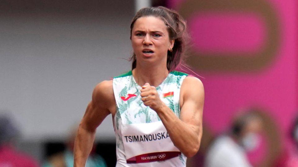 Kristina Timanowskaja aus Belarus in Aktion
