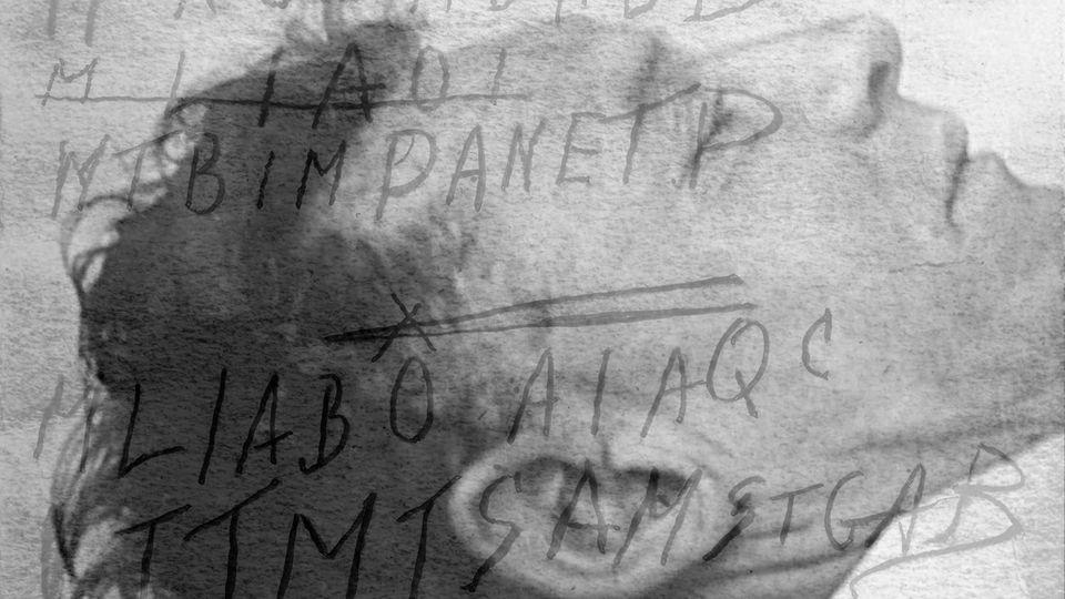 Die Leiche des Unbekannten, überlagert von Notizen