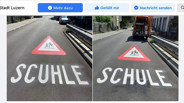 """Die falsche und die richtige """"Schule""""-Markierung in Luzern"""