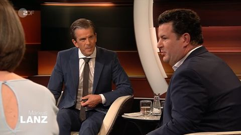 ZDF-Moderatur Markus Lanz (l.) und Bundesarbeitsminister Hubertus Heil (SPD)